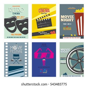 Retro Cinema Poster. Vintage Collection. With Film Projector, popcorn,  glasses, clapper, megaphone, reel and more.  Can be used for print, web, Isolated. Vector.
