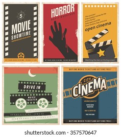 Retro cinema posters and flyers collection. Vintage movie signs layouts. Promotional film printing templates for ads or banners on old paper texture.