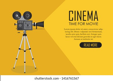 Retro cinema projector. Time for movie poster vector illustration