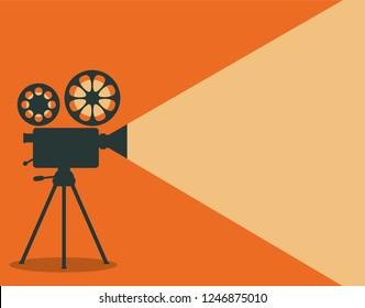 Retro cinema projector vector illustration