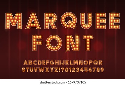 Retro Cinema or Theater Shows Marquee Font for Dark Background