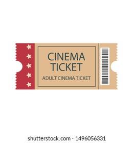 Retro cinema ticket. Illustration of designer on a white background.