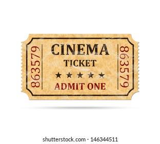 Retro cinema ticket on white background, vector illustration