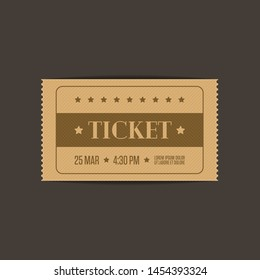 Retro cinema ticket template, isolated on white background. Vintage Tickets to theater, concert or other event. Vector illustration in flat style. EPS 10.