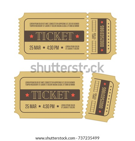 retro cinema ticket template isolated on stock vector royalty free