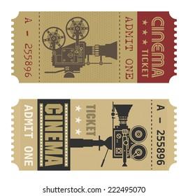 Retro cinema ticket, vector illustration