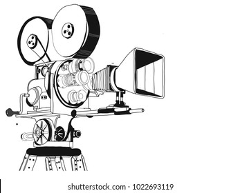Retro cinema Video Camera with text place. movie poster, placard banner for film. Vector illustration in hand drawing style