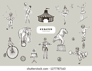 Retro circus performance set sketch stile vector illustration. Hand drawn imitation. Human and animals. Stickers design.