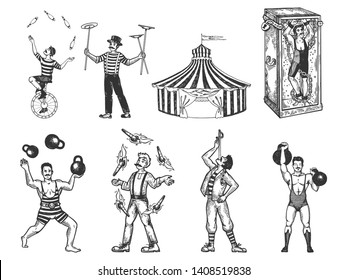 Retro circus performance set sketch vector illustration. Old hand drawn engraving imitation. Human and animals vintage drawings