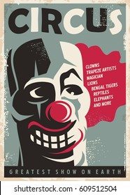Retro circus poster design template with clown portrait. Vintage style vector illustration.