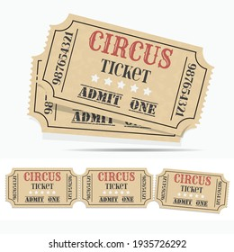 Retro circus ticket and empty ticket. Craft circus ticket.