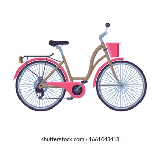 Retro City Bicycle with Basket, Ecological Sport Transport, Pink Bike Side View Flat Vector Illustration