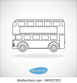 Retro city double decker London bus line icon on a white background - isolated vector illustration