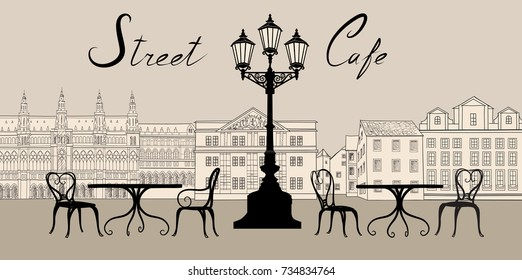 Retro city view. Cityscape with building facade. Street cafe design elements with lettering