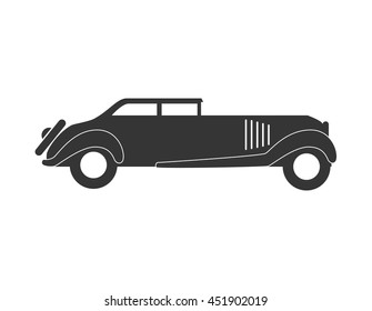 Retro classic car in black and white colors isolated flat icon, vector illustration.