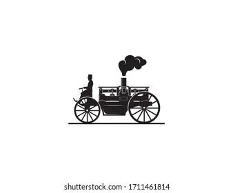 Retro classic car vector illustration. Abstract unique vintage logo icon sign.