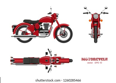 Retro classic motorcycle in realistic style. Side, top and front 3d view. Detailed image of vintage red motorbike on white background. Vector isolated illustration