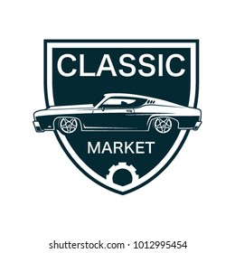 Retro And Classic Muscle Car Logo Template Vector With Shield