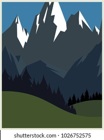 Retro classic vintage vector design concept travel poster ideal for vacation brochure, camping promotional advertisement with mountains and trees