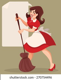 retro cleaning, vector cartoon illustration