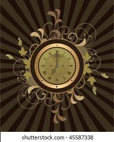 Retro clock with decorative elements on a dark background