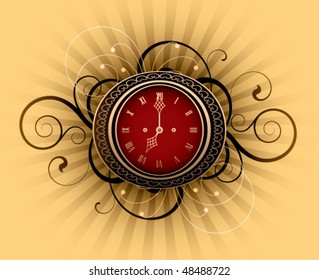 Retro clock with decorative elements on a striped background