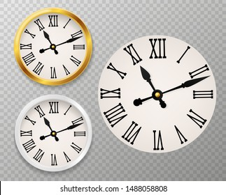 Retro clock face. Tower wall clocks with roman numerals and antique classic hands in golden and white round watch case vector rounded new 3d clocking decor set