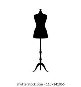 Retro clothing mannequin black vector silhouette. Vintage female dummy dress mannequin.
