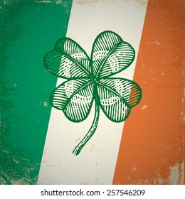 Retro clover on Irish flag for Patrick day