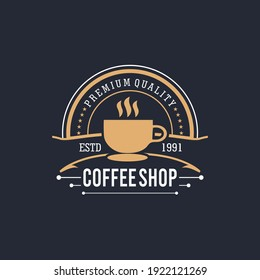 Retro Coffee shop badge logo design. Perfect for modern coffee shop joints. Vintage Style. Vector Illustrtion