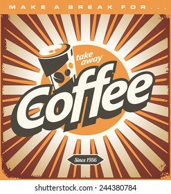 Retro coffee shop design concept on old metal background. Retro poster idea with drink and food theme. Vector tin sign.