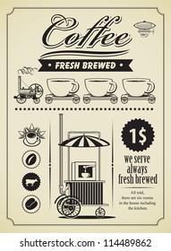 retro coffee theme banner