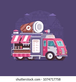 Retro coffee van in flat design. City street food truck with cafe cup. Summer kitchen auto kiosk in flat design. Cartoon car with food on wheels illustration. Vintage cartoon minivan with beverages.