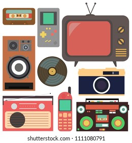 Retro collection.Flat design, Retro technique. The collection includes: a TV, a camera, a mobile phone, a tetris, a speaker, a tape recorder, a cassette and a radio.