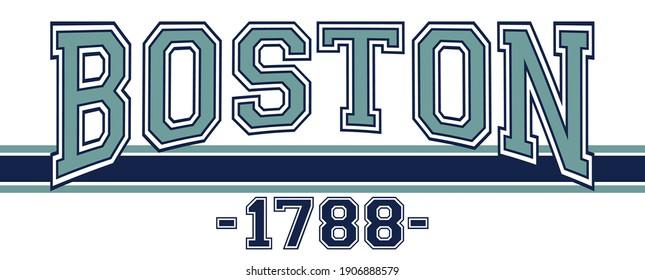Retro college varsity font typography  boston city slogan vector print for tee - t shirt and sweatshirt - hoodie