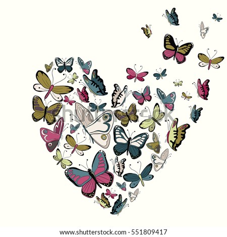 Retro color butterflies in the shape of heart. Vector illustration on yellow background