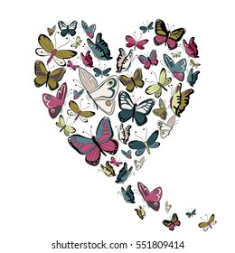 Retro color flying butterflies in the shape of heart. Vector illustration on white background