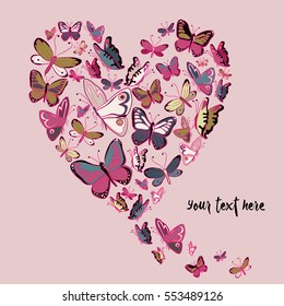 Retro color flying butterflies in the shape of heart. Vector illustration on pink background with place for your text