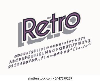 Retro color font and alphabet. Stock vector