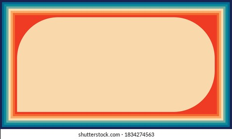 Retro color frame template vector for banner, poster, flyer, header, etc. Line frame in orange yellow and blue color. EPS10