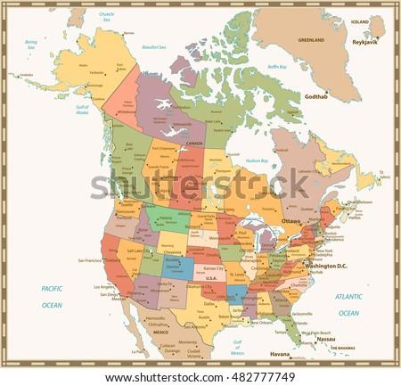 Political Map Of Canada And Usa.Retro Color Political Map Usa Canada Stock Vector Royalty Free
