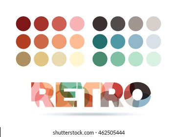 retro color sample palette, vector circle swatches