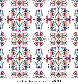 retro color tribal Navajo vector seamless pattern. aztec fancy abstract geometric art print. ethnic hipster backdrop. Wallpaper, cloth design, fabric, paper, cover, textile, weave, wrapping.