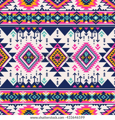 Retro Color Tribal Navajo Vector Seamless Stock Vector Royalty Free