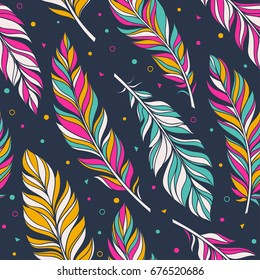 Retro color vector seamless pattern with feathers bird. hand-drawn doodle illustration. Graphic boho style background. Wallpaper, cloth design, fabric, tissue, cover, textile template.