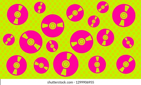 Retro colored vinyl disc in a Zine Culture style. Comic set, t-shirt composition, hand drawn style print. Vector illustration.