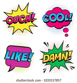Retro colorful comic speech bubbles set with halftone shadows on white background. Expression text COOL, OUCH, LIKE, DAMN. Vector illustration, pop art style.