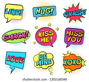 Retro colorful comic speech bubbles set for Valentine's Day. Isolated on white background. Expression text KISS ME, LIKE, HUG, BE MINE, SMACK, MISS YOU, LOVE, XOXO. Vector illustration, pop art style.