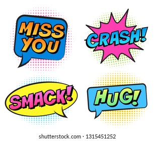 Retro colorful comic speech bubbles set for Valentine's Day. Isolated on white background. Expression text HUG, SMACK, MISS YOU, CRASH. Vector illustration, pop art style.