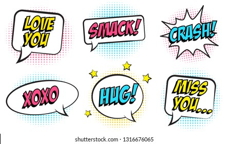 Retro colorful comic speech bubbles set for Valentine's Day. Isolated on white background. Expression text CRASH, HUG,  SMACK, MISS YOU, LOVE, XOXO. Vector illustration, pop art style.